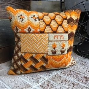 Vintage crocheted 1975 throw pillow